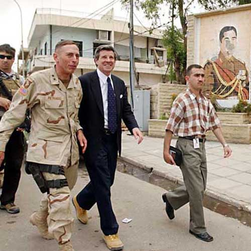 David Petraeus and Paul Bremer, Falluja, 2003