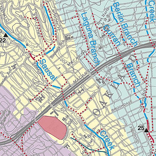 Map of portion of Sausal Creek, Oakland, CA