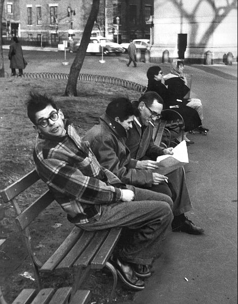 Alan Ginsberg, Gregory Corso, and Barney Rosset, Washington Square Park, late 1950s
