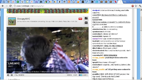 Livestream's Occupynyc Channel