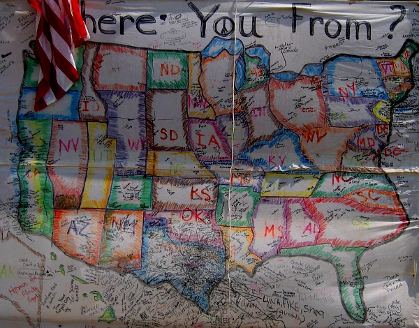 Where You From? map from Cindy Sheehan's anti-Iraq War encampment outside Crawford, TX, August 2005