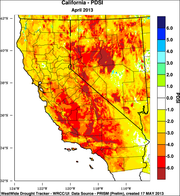 WestWide Drought Tracker: California, April 2013