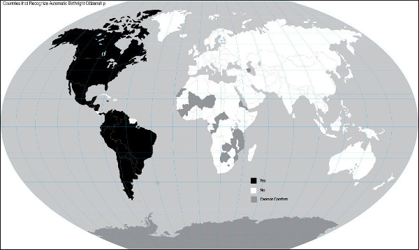 Birthright citizenship map of the world