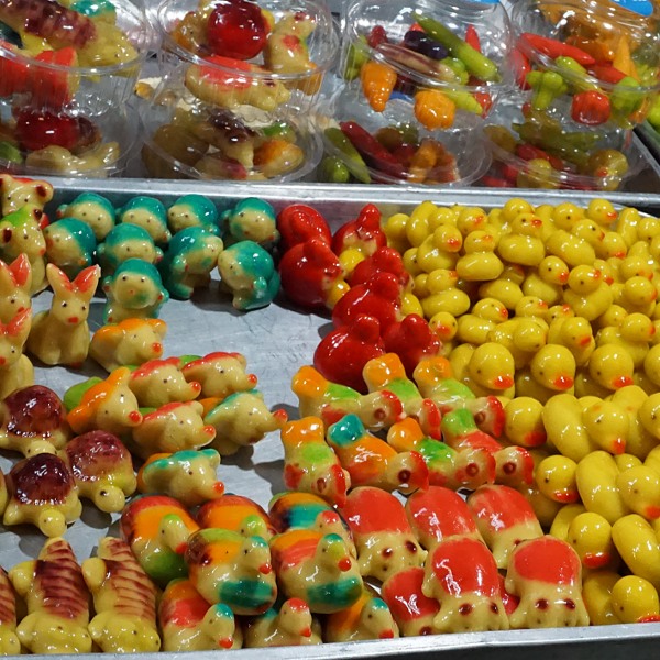 Candies in market near Bangkok, Thailand, January 2018