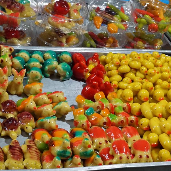 Candies in market near Bangkok, Thailand, January 2018