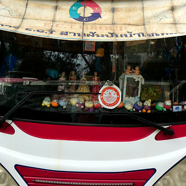 Tour bus dashboard, Bangkok, Thailand, January 2018