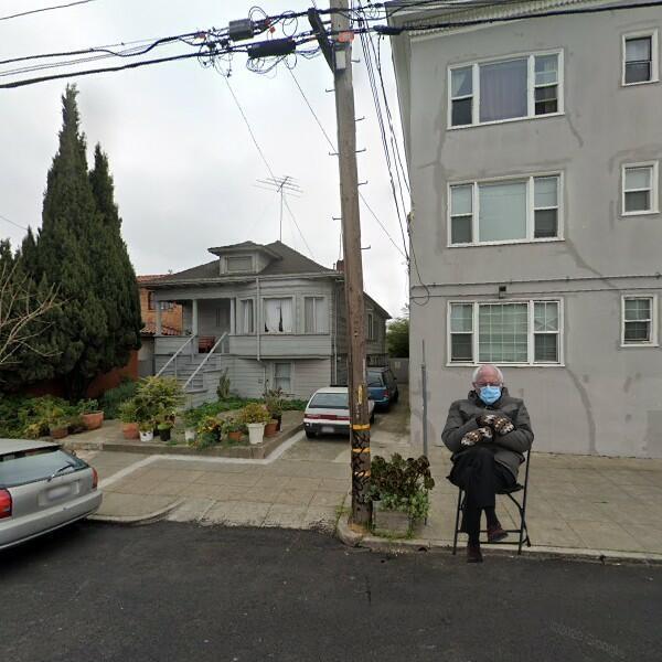 Bernie Sanders appearing in front of residences