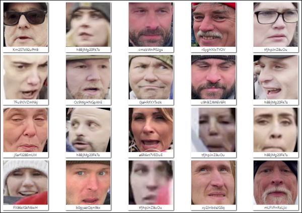 Images of Capitol rioters' faces from facesoftheriot.com
