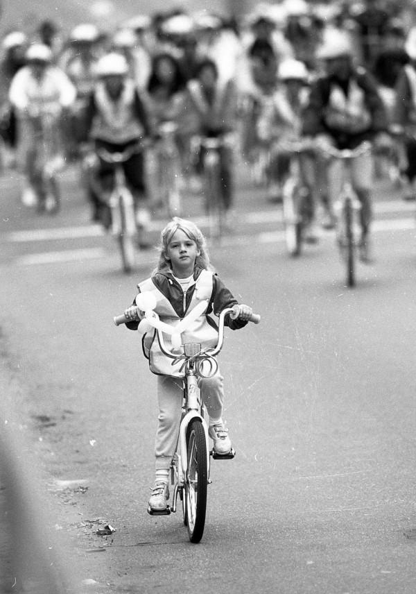 Child riding bike during the second San Francisco Bike Adventure